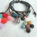 Handmade Multi Bead Charms DIY Lava Bead and Felt Balls Essential Oil Diffuser Locket Pendant Leather Bracelet