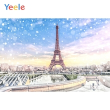Yeele Winter Fallen Snow Eiffel Tower Bedroom Decor Photography Backdrops Personalized Photographic Backgrounds For Photo Studio