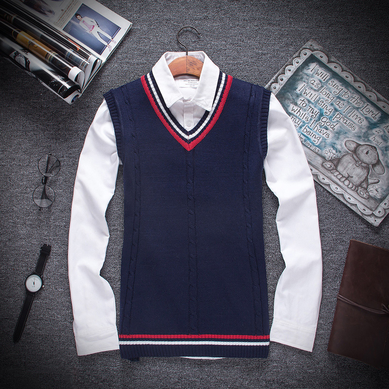 Autumn Winter 2019 New Men Fashion Boutique Cotton V-neck Knitted Sweater Vest / Male Formal Social Business Sweater Waistcoat