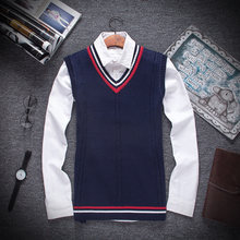 Autumn Winter 2019 New Men Fashion Boutique Cotton V-neck Knitted Sweater Vest / Male Formal Social Business Sweater Waistcoat(China)