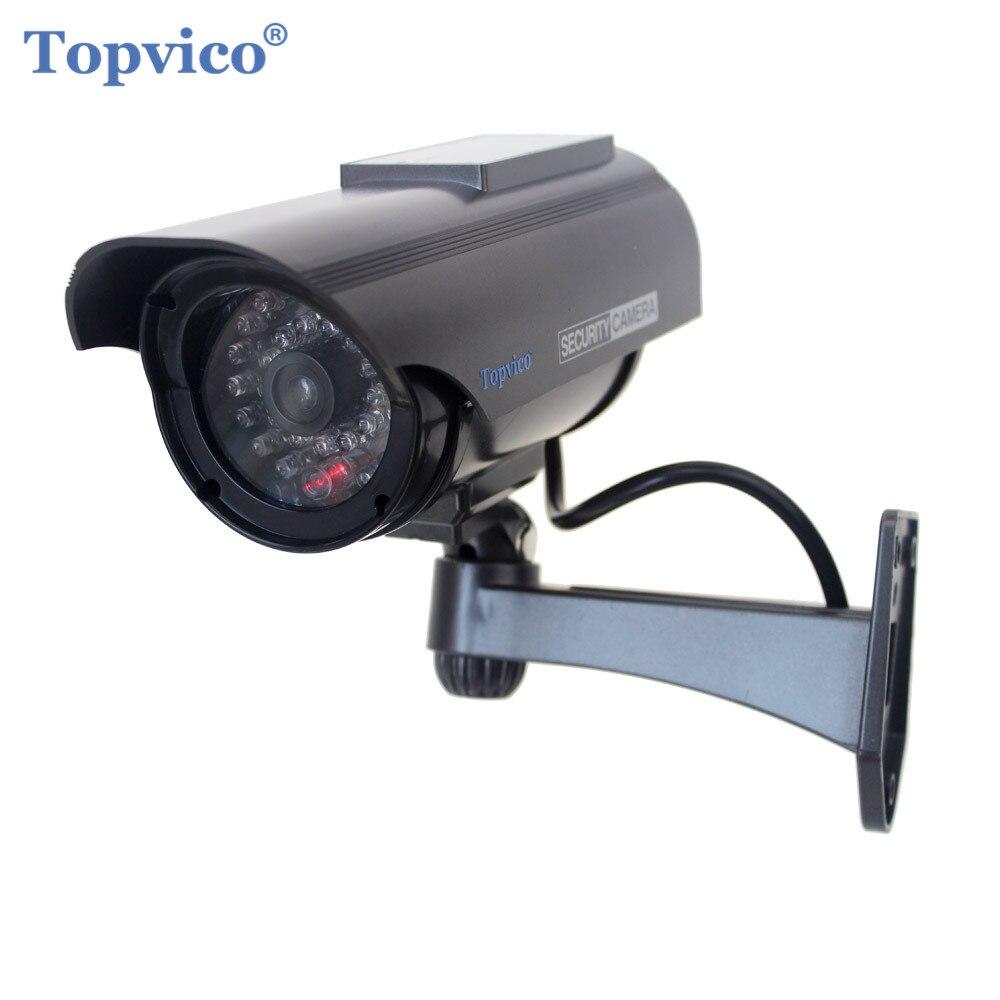 Topvico Dummy Camera Solar Simulation Fake Security Camera False CCTV Cam Battery Powered Outdoor Video Surveillance Camera