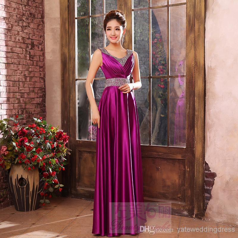 2018 Sexy robe de soiree Scoop Sleeveless Gold/Royal Blue/Red Stretch Satin Beaded Sash Cheap Prom gown   Bridesmaid     Dresses