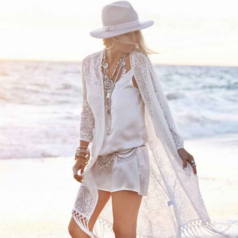 2017 Pareo Beach Cover Up Lace Embroidery Bikini Swimwear Women Bathing Suits Tassel Cover Ups Robe De Plage Beach Cardigan