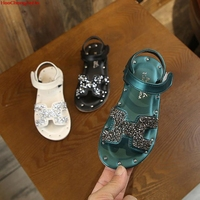 Детские модные сандалии; пляжная обувь для девочек; детские сандалии с пайетками; уличная детская Нескользящая летняя мягкая обувь на плоск...
