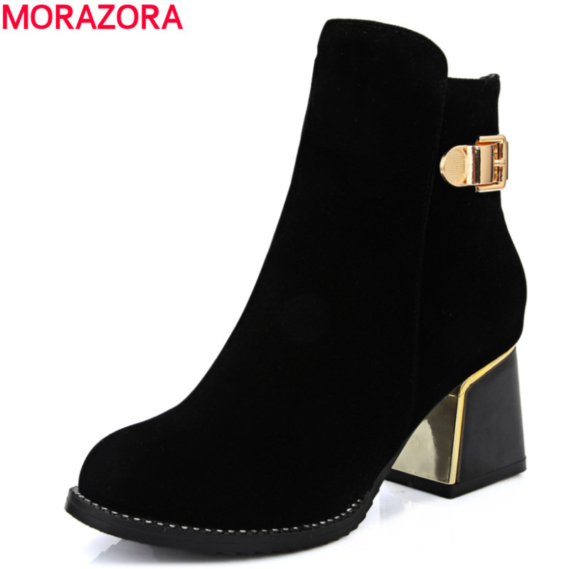 MORAZORA Fashion 2018 hot sale top quality flock ankle boots for women autumn winter high heel round toe solid black women shoes hot sale tassel pendant autumn winter reversible oversized batwing poncho cape shawl for women