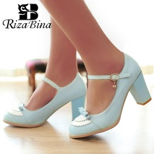 RizaBina Women High Heel Shoes Patchwork Bowknot buckle Thick Heels Pumps Ladies Daily party Footwear Size 32-45