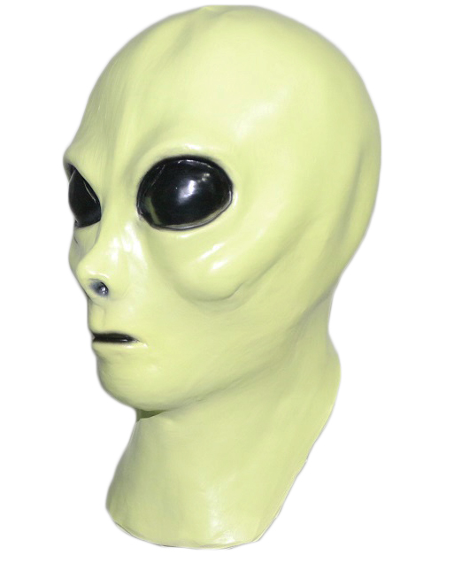 LATEX GREEN ALIEN SPACE COSTUME MASK FANCY DRESS HALLOWEEN COSTUME ACCESSORY