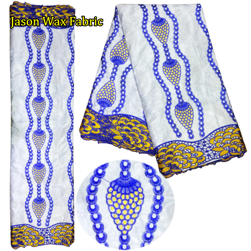 2017 new arrival 5 yards Embroidery African bazin riche lace Nigerian lace fabric for sewing wedding dress LBL