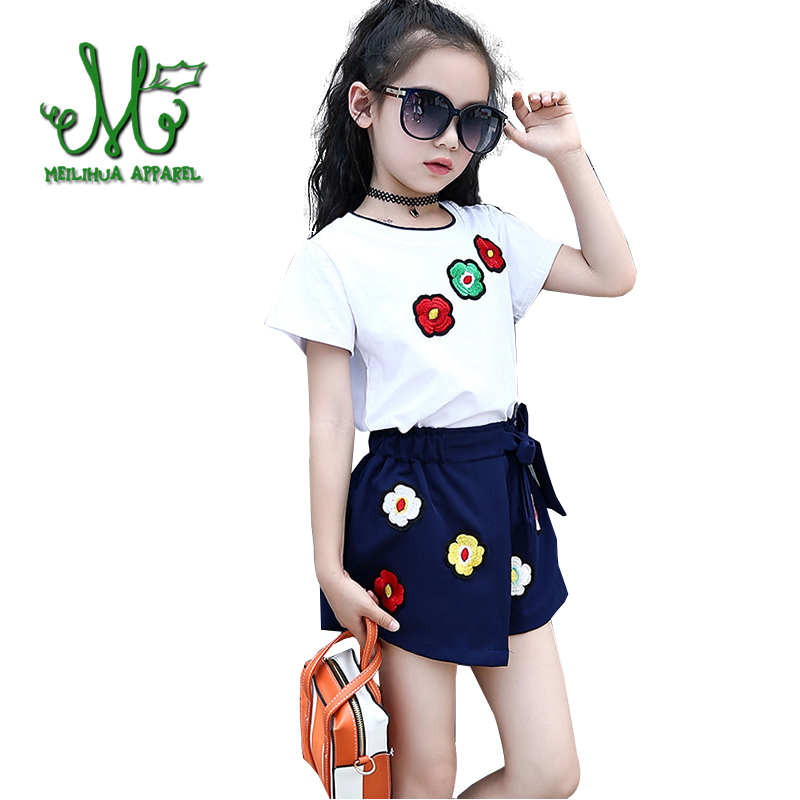 Cute Teens Girls Summer Clothing Set Girls Floral Cotton Suit Kids 2Pcs 2018 New Sport Suit Tshirt+Short For 6 8 10 12 14 years 2016 summer europe fashionable girls cute girls short bow wave shorts cotton suit birthday gift for girls
