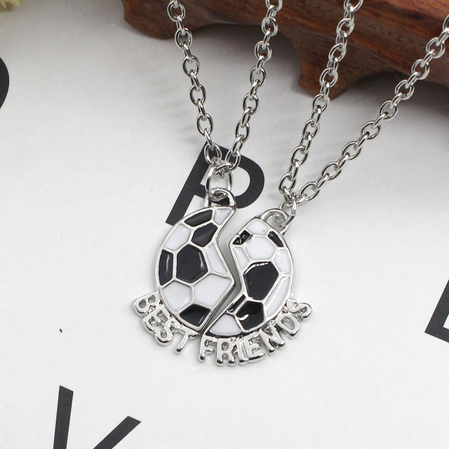Best Friends Soccer Football Friendship Pendant Necklace