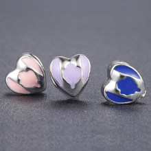 2017 Love Heart Silver Plated Charms Beads Fit Pandora Original Bracelet For Women Jewely DIY Making Accessories(China)