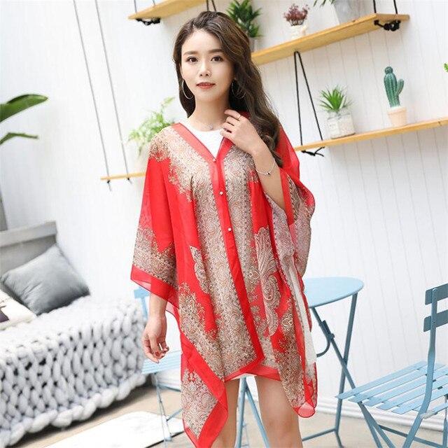 VISNXGI Fashion Floral Chiffon Blouses Women Spring Summer Style Beachwear Cover Up Elegant Flower Print Chiffon Loose Shirt 4