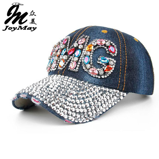 Joymay 2016 New OMG Diamante Jean Denim Baseball Caps Men Snapback Caps Women Casual Outdoor Sport Adjustable Hats B264