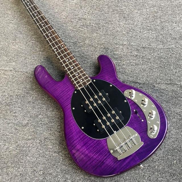 Kichern Sterling Ray 4 String Lila Flamme Farbe Musicman Zoll E bass ...