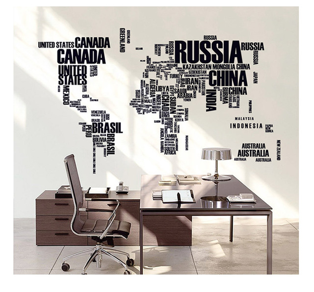 Letter world map wall stickers home decoration poster quote letter world map wall stickers home decoration poster quote removable vinyl decal mural gumiabroncs Image collections