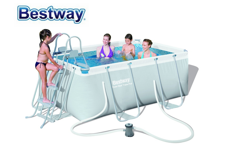 287*201*100cm Bestway #56409 Power Steel Rectangular Frame Pool Set(Contents:Pool,Filter Pump,Safety Ladder) For Family 58330 bestway 42 1 07m safety pool ladder specially designed ladder for above ground swimming pool of height 1m pool staircse