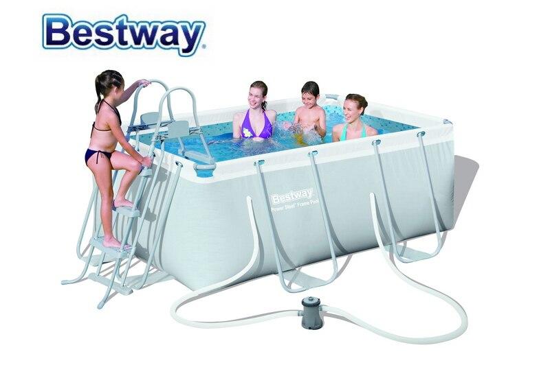 Seulement 4 ensembles à gauche! 56409 Bestway 287*201*100 cm ensemble de piscine à cadre rectangulaire en acier de puissance (piscine, pompe à filtre, échelle de sécurité) pour la famille