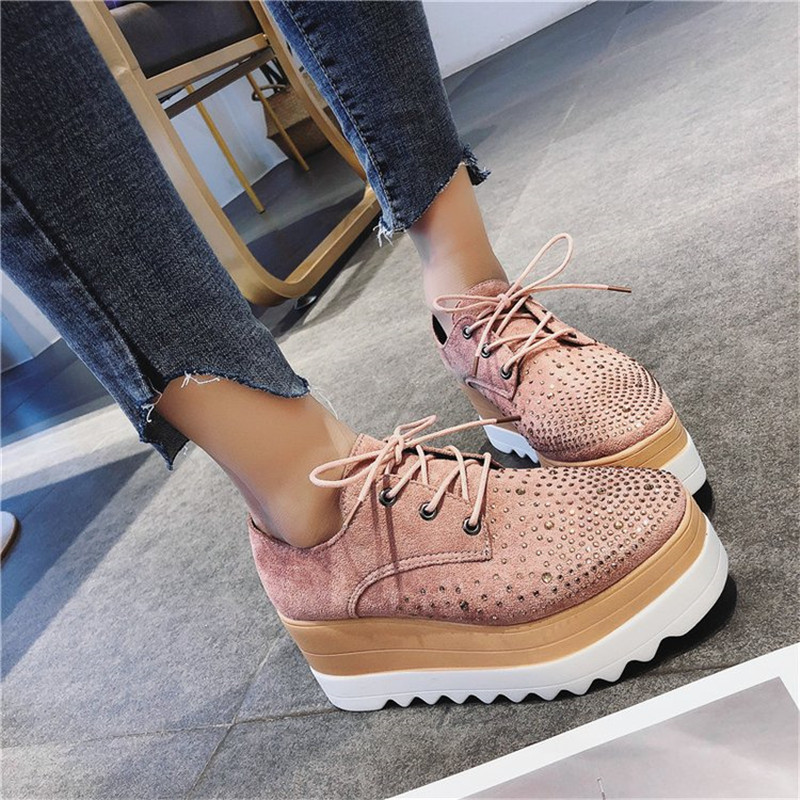 COOTELILI  Spring Women Shoes Flat Platforms Rhinestone Lace-Up Wedges Sneakers Ladies Oxfords Woman Flats Casual Crystal