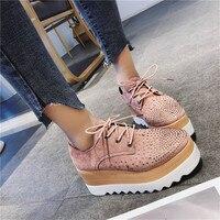 COOTELILI/Весенняя женская обувь на плоской платформе со стразами; кроссовки на танкетке со шнуровкой; женские оксфорды; женская обувь на плоско...