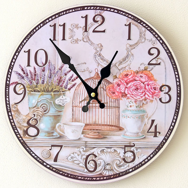 Painted Birdcage 12Inch Home Decor Round Creative Wooden Wall Clock Vintage Mute Wood Wall Kitchen Livingroom Decorations