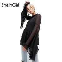 SheInGirl Women Solid Black Semi Sheer Mesh Casual Shirts Flare Sleeve Split Lace Up Ruffled Female