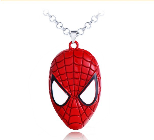 HSIC <font><b>1</b></font> Piece Ship Superhero Spider-man The Amazing <font><b>Spiderman</b></font> <font><b>Mask</b></font> Pendant Necklace Fashion Necklace for Men Wholesale and Retail