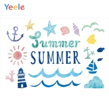 Yeele Party Photocall Summer Sea Beach Waves Fishes  Photography Backdrop Personalized Photographic Backgrounds For Photo Studio
