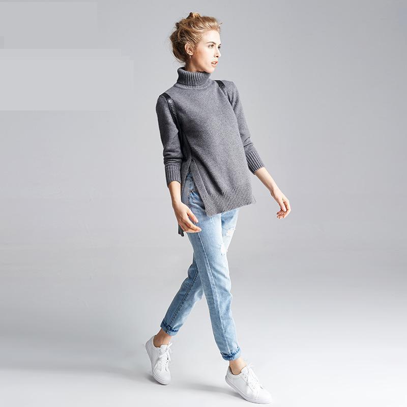 جديد المدورة سترة إمرأة الصلبة الكامل - ملابس نسائية