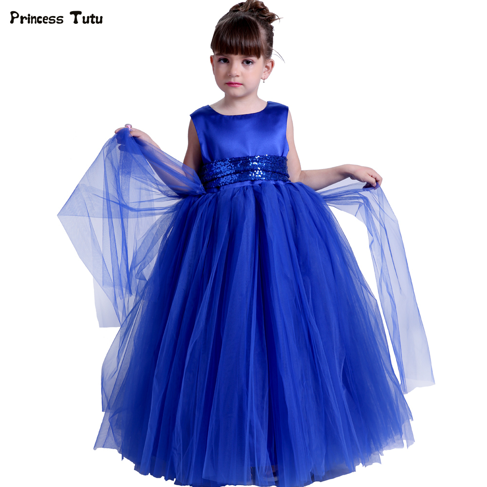 Princess Flower Girl Dresses Ankle-Length Blue Tutu Dress Tulle Girls Pageant Ball Gowns Dress For Wedding/Birthday Party Custom girls wedding flower girl dresses baby girl birthday party tutu dress children pageant ball gowns for girls kids princess dress