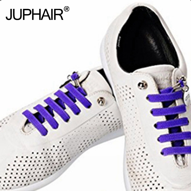 JUP 8 Pairs Sneakers Shoelaces Lock Locking Shoes Laces High-grade Metal Box Packaging Lazy People Without Strong Elastic Laces