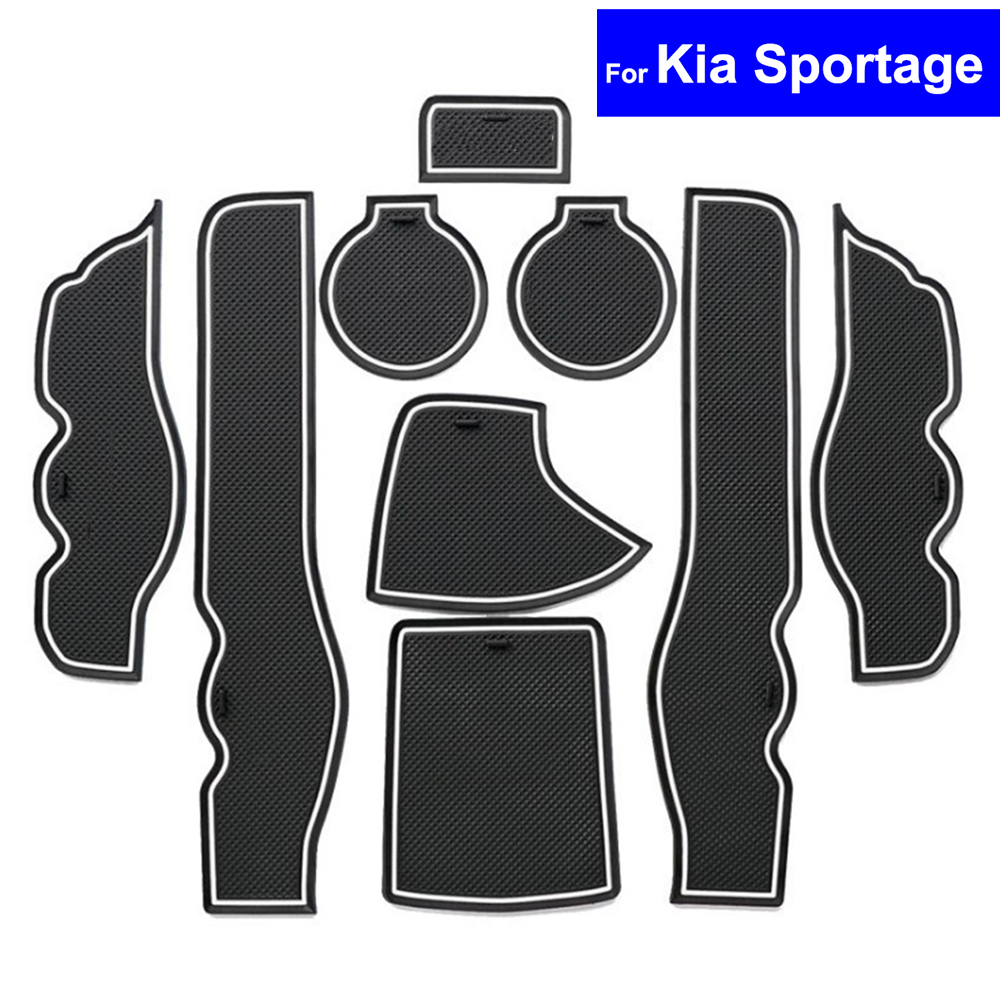 Non-slip Car Door Slot Mats Carpets Position Cup Holder Pads For Kia Sportage 2007 2008 2009 2010 2011 2012 2013 Door Groove Mat