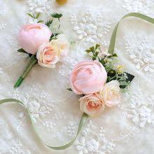 Бутоньерка для невесты Свадебный букет цветов аксессуары для подружек невесты корсаж Свадебные букеты жемчужные корсажи розовый ручной цветок
