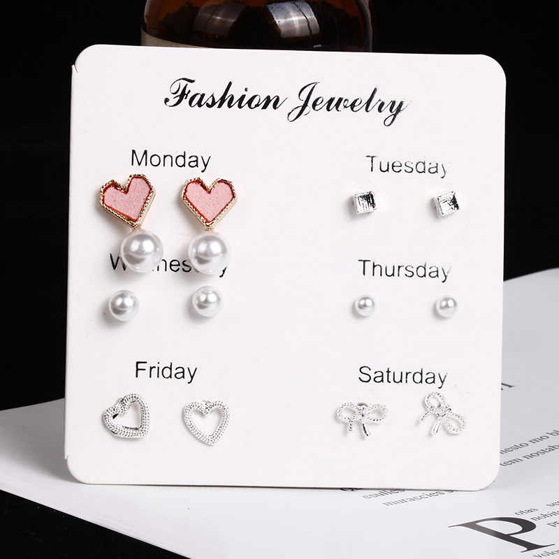 Set Korean Fashion New Earrings Temperament Geometric Personality Youth Wind Love Pearl Bow 6 Piece Set Ladies Earrings