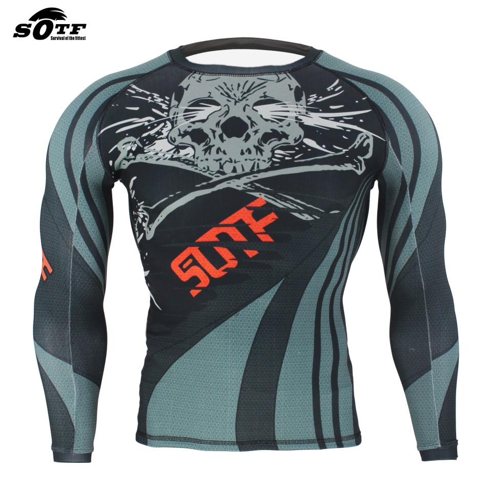 SOTF MMA Skull Lines Wear Fitness Fighter Fighting Breathable Sweatshirt Boxing jerseys  ...