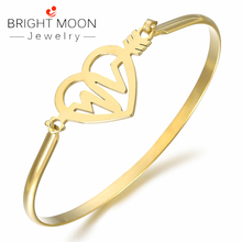 BRIGHT MOON New Fashion Stainless Steel lovers bangle Hot Rose Gold Bracelets Bangles Punk for Women Men Best Gift  Jewelry