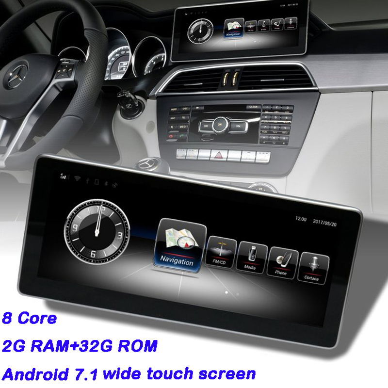 Schermo auto Mercedes W204 Android Display per GLC Classe C W205 Wifi Bluetooth Aftermarket Cruscotto Navigator con 2g di RAM 8 core