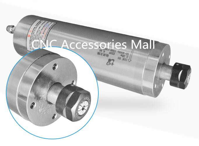 Low Speed 2.2Kw D80mm AC220V drilling Metal spindle motor 1500rpm-12000rpm water Cooled metal milling spindle motor