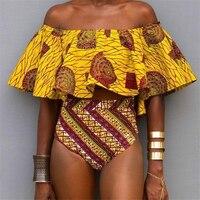 African Print 2017 High Waiste Bikini Set Swimwear Women Off Shoulder Yellow Bathing Suit Push Up