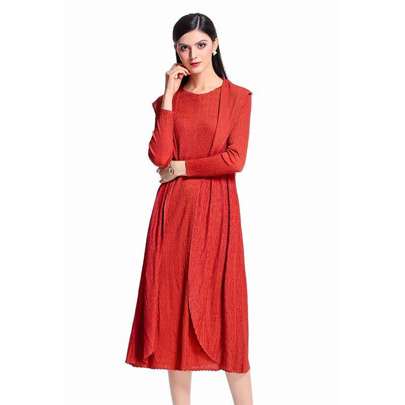À Printemps Manches Cou Blue Miyake dark O Robe Solide Grande Élégantes Pièces Femmes Deux Robes Faux Gray Occasionnels burgundy orange Automne Plis red Mode Longues Taille PpPqXw6v