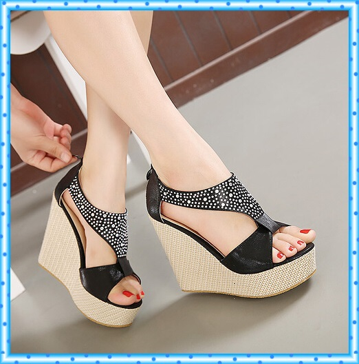 9e121a1d1 fashion Rhinestone sandals platform shoes woman summer 2015 ladies pumps wedges  high heels ankle strap heels sandals women D125