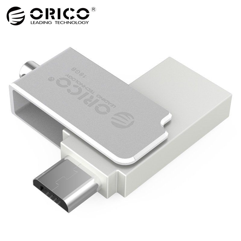 ORICO U2-16G-SV Mini Metal U Disk support OTG 2 in 1 usb flash disk converter adapter for Mobile Computer Tablet use