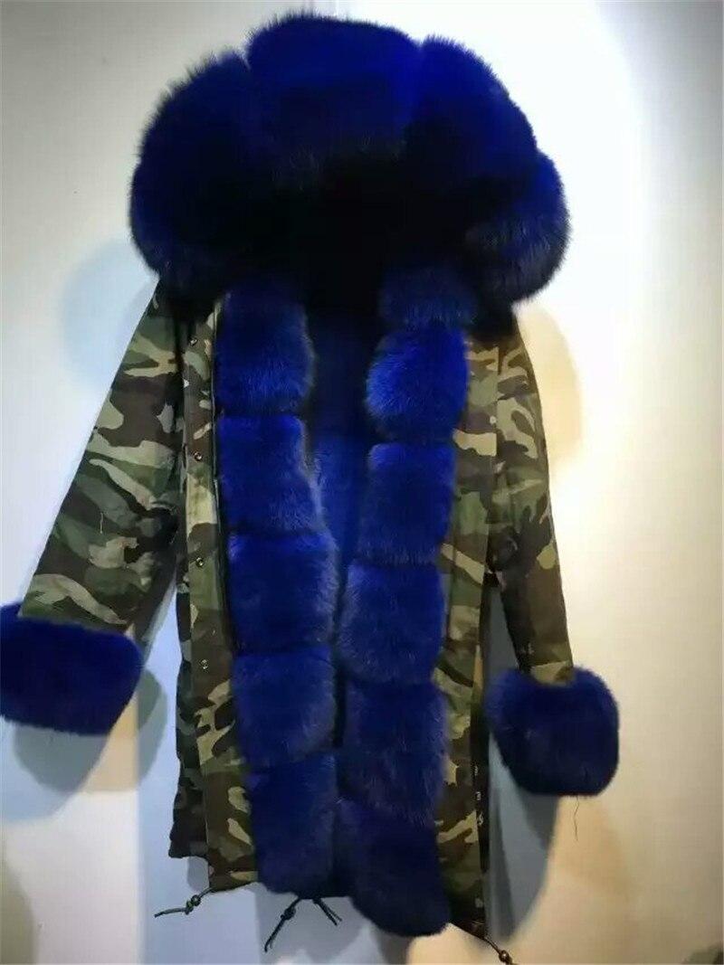 Kundenspezifische Italien stil blau fell kapuze camouflage parka  kunstpelz fuchspelz kaninchenfell innen lange jacke mäntel in  Kundenspezifische Italien ... 17b84da5b5