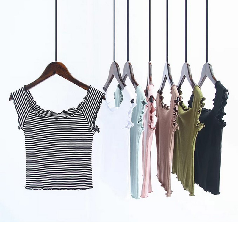 Off Shoulder Tops For Women Casual Short Sleeve Cotton T-shirts beach white Sexy tops female cami bustier crop black pink