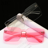 Brand Designer Oversized Men Sunglasses Women Flat Top Sun Glasses Frame Square Male Clear Transparent Male