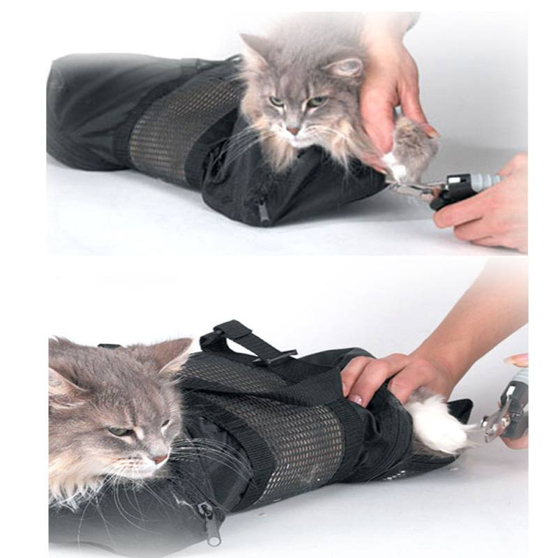 Cat Grooming Bag - Cat Restraint Bag, Cat Grooming Accessory + Free Cat Muzzle By Cute Puppy Accessories D1