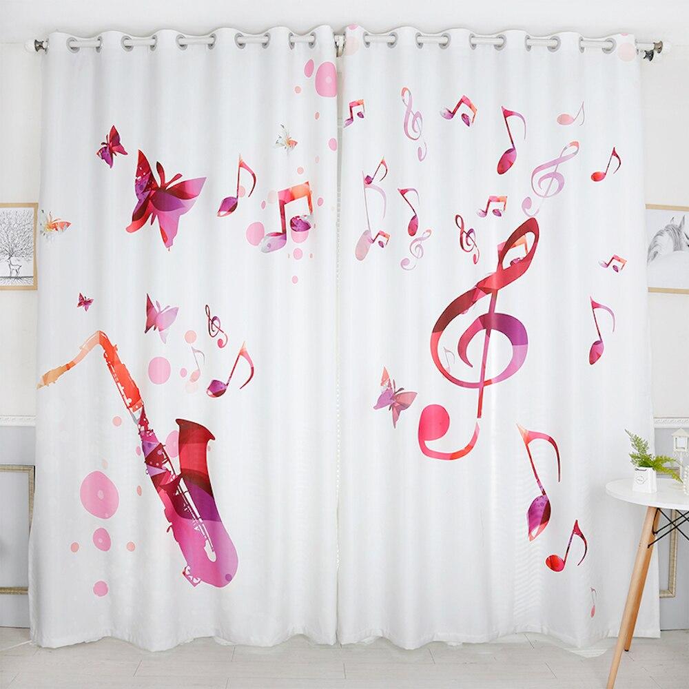 Tailleur personnel 2x oeillet fenêtre draperie rideau salon fenêtre Dressing Tulle 200x260 cm Shax Musical papillon