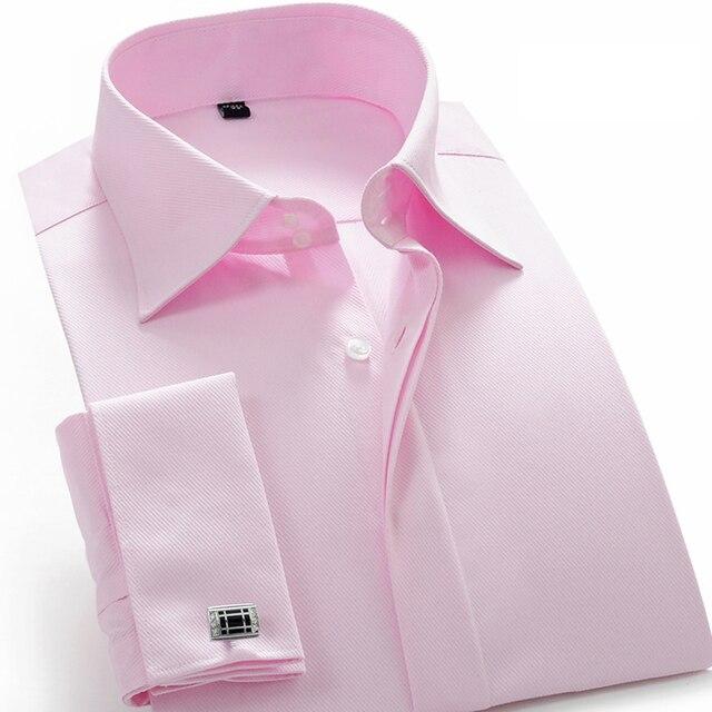 100% Хлопок Французский Стиль мужская Clothing Мода Лето Весна Бренд Рубашка Slim Fit Невидимые Кнопки Рубашка С Длинными Рукавами