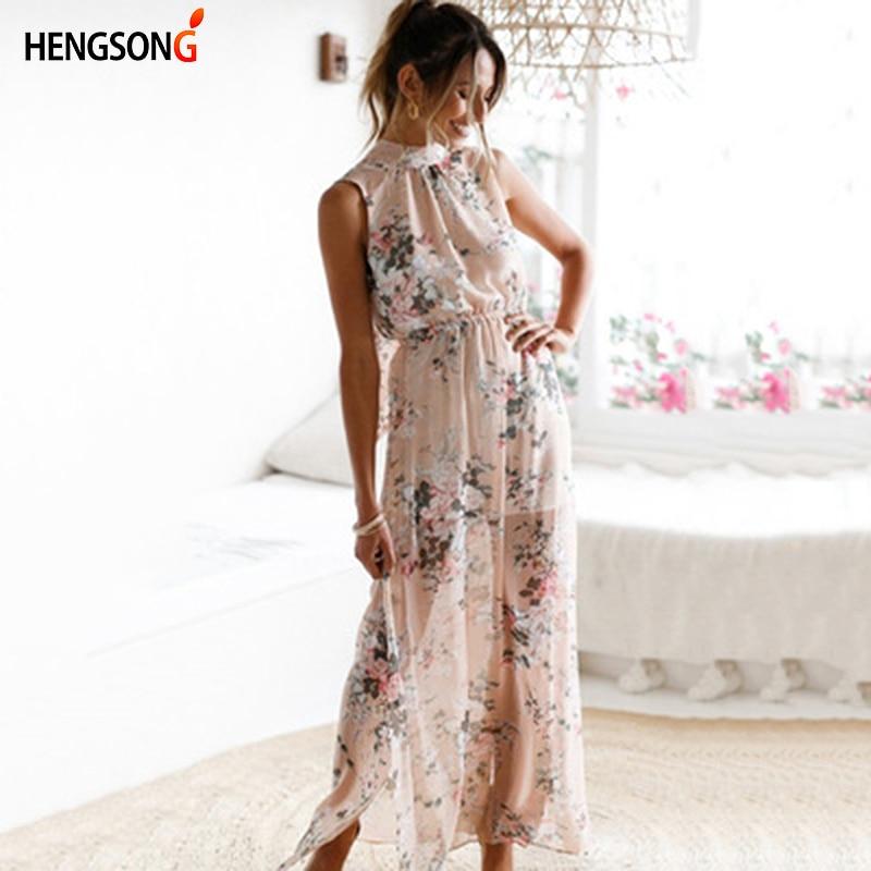 HENGSONG Sexy Off Shoulder Printed Dress Women Summer Boho Chiffon Halter Long Dress 717455