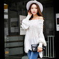 Dabuwawa two colors off shoulder long sleeve blouse