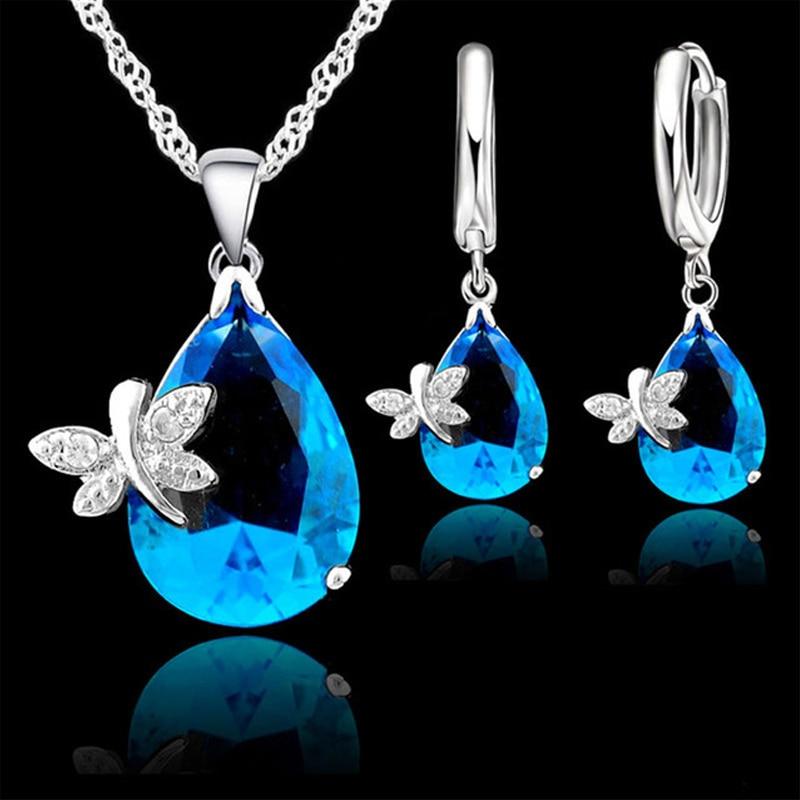 PATICO Sistemas de la joyería Real Pure 925 Sterling Silver Austrian Crystal Dragonfly CZ colgante collar LeverBack Hoop pendientes